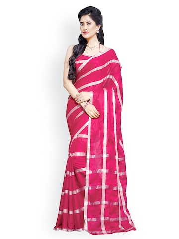 Ishin Red Cotton Striped Traditional Saree at myntra