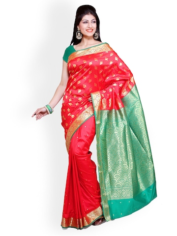 Ishin Red Printed Poly Silk Traditional Saree at myntra