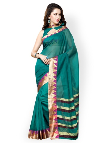 Ishin Green Cotton Traditional Saree at myntra