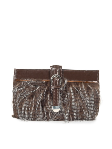 Ivory Tag Brown Fur Clutch