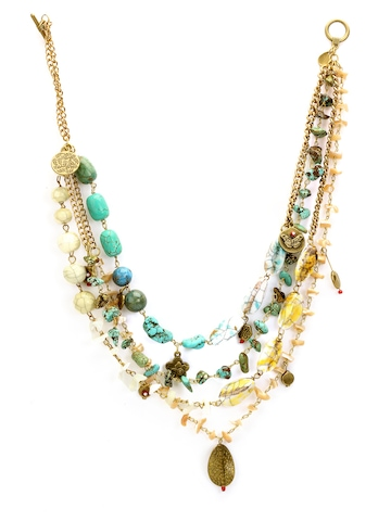 Ivory Tag Women Cluttered Aqua Cream and Green Necklace