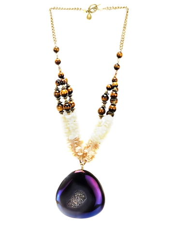 Ivory Tag Women Glistening Agate Cream Necklace