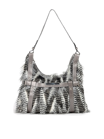 Ivory Tag Grey Fur Handbag