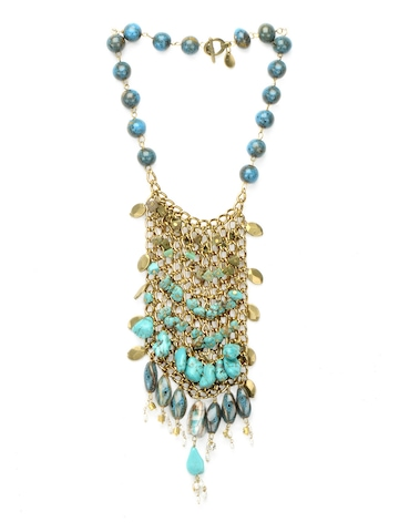 Ivory Tag Women Intermeshed Turquoise Blue Necklace