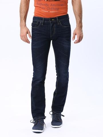 Jack & Jones Men Blue Clark Regular Fit Jeans at myntra