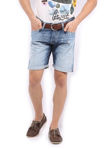 Jack & Jones Men Blue Rick Rock Royal Denim Shorts at myntra