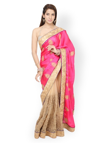 Jashn Pink & Beige Embroidered Georgette Partywear Saree available at Myntra for Rs.2719