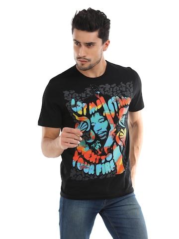 Jimi Hendrix Men Black Printed T-Shirt