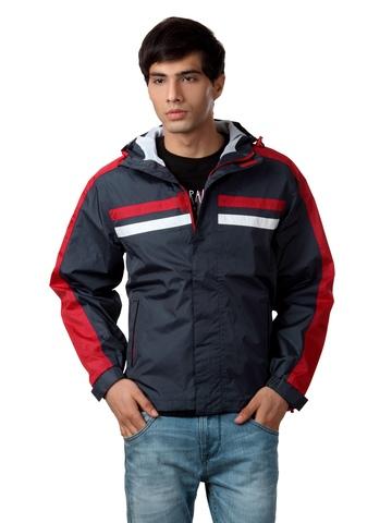 Just Natural Men Navy Blue Rain Jacket