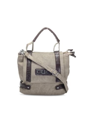 Kiara Women Grey & Brown Handbag