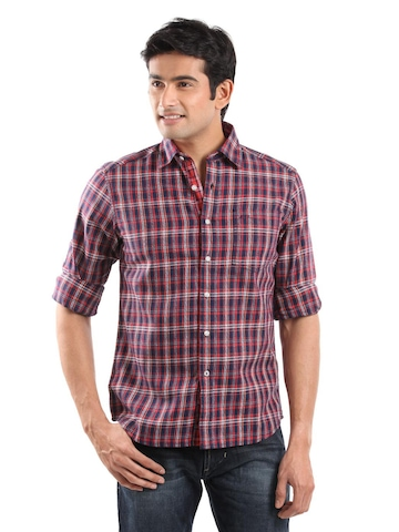 Lee Men Red & Navy Blue Check Shirt
