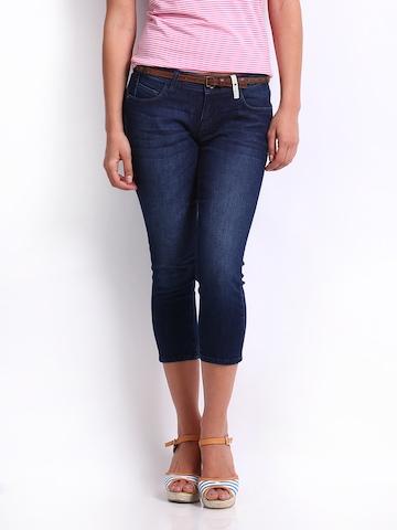 Lee Women Blue Maxi Skinny Fit Denim Capris
