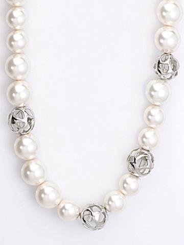 Lencia White Swarovski Pearl Necklace