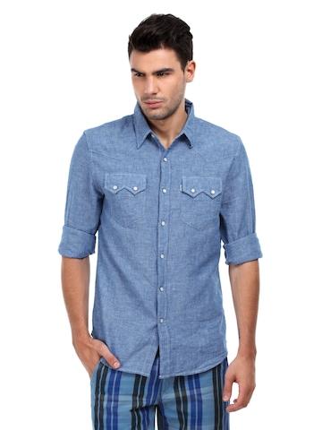 Levis Men Blue Sawtooth Western Shirt