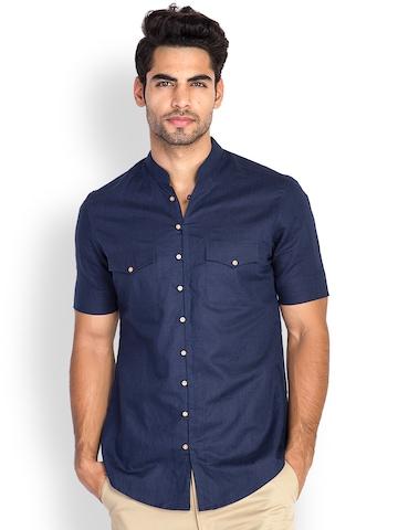 MR BUTTON Men Dark Blue Linen Blend Slim Fit Casual Shirt