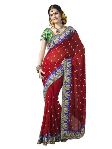 Manjula Red Georgette Embellished Saree