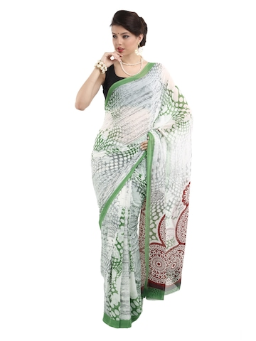 Manvi Women White Fancy Printed Saree
