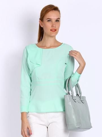 Pretty peplum top from Autograph. EUC. Mint green colour with lacy texture. Slightly stretchy material and very flattering on. $ Can post at buyer's expense.