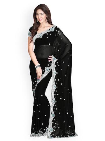 Mirchi Fashion Black Faux Georgette Fashion Saree at myntra