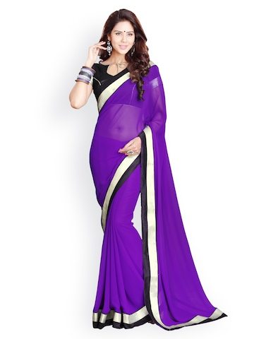 Mirchi Fashion Purple Faux Georgette Fashion Saree at myntra