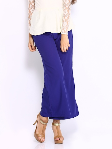 Miss Chase Women Royal Blue Palazzo Trousers at myntra