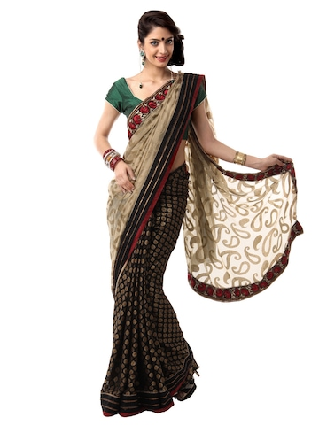 Mysilk Black and Beige Brasso Fashion Saree
