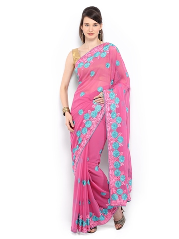 Mysilk Pink Embroidered Georgette Fashion Saree available at Myntra for Rs.995