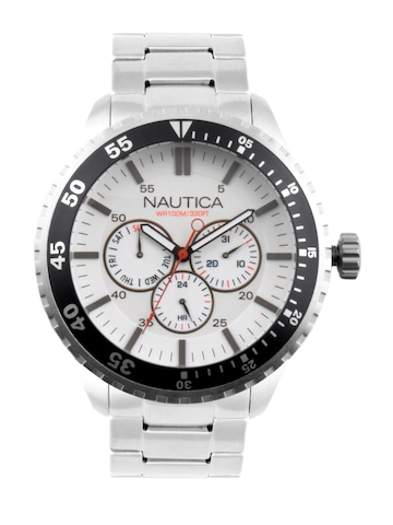 Nautica Men White Dial Chronograph Watch