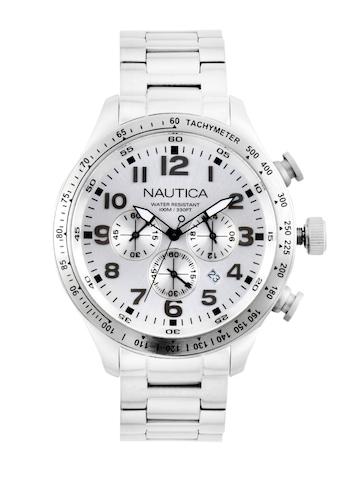 Nautica Men Sliver Dial Chronograph Watch