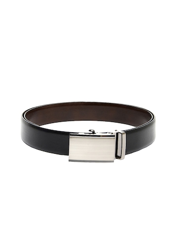New Hide Men Black & Brown Reversible Leather Belt