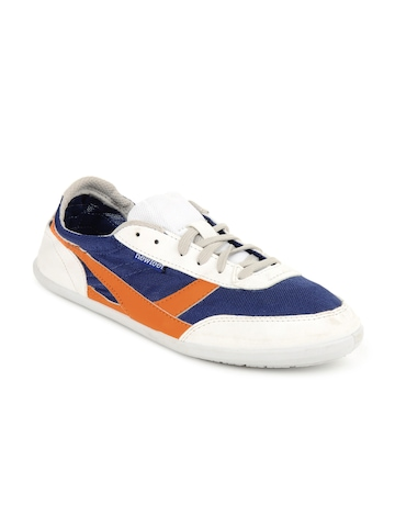 Newfeel Unisex White, Blue and Orange Casual Shoes
