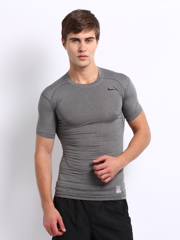 buy nike men grey melange core compression t shirt 2. Black Bedroom Furniture Sets. Home Design Ideas
