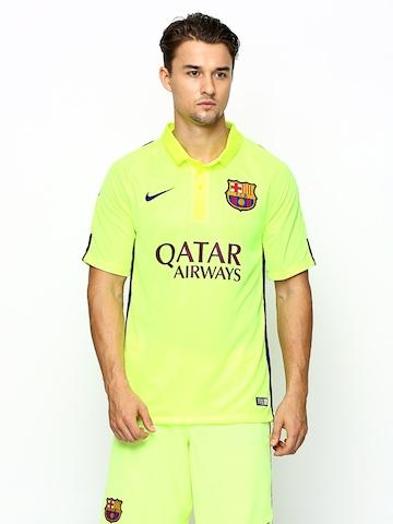 Nike Men Neon Yellow FCB FLD SS Stadium JSY Printed Football Polo T-shirt