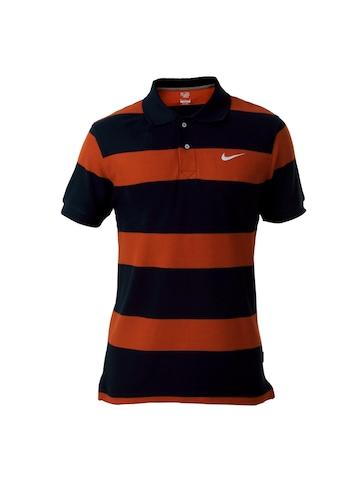 Nike Men Orange & Navy Blue T-shirt