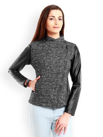 Nun Women Black & Black Melange Jacket at myntra