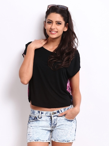 ONLY Women Black & Pink Printed Top