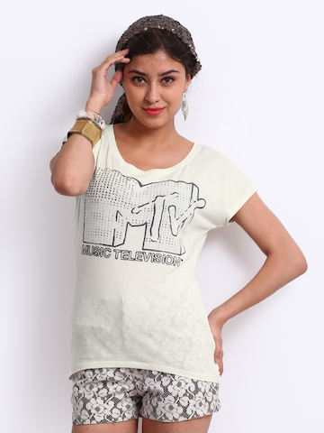 ONLY Women Cream Coloured Printed Top