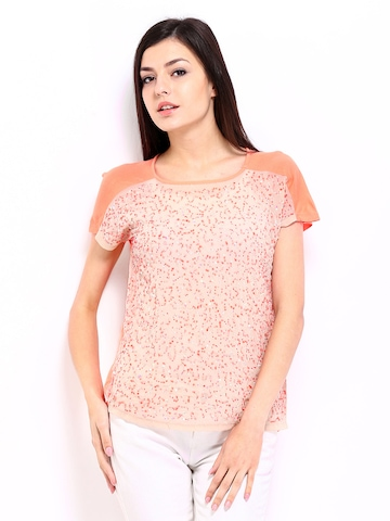 ONLY Women Peach Coloured Sequin Top at myntra