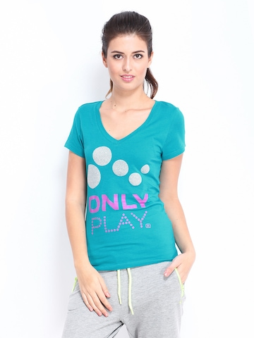 ONLY Play Women Teal Blue Printed T-shirt at myntra