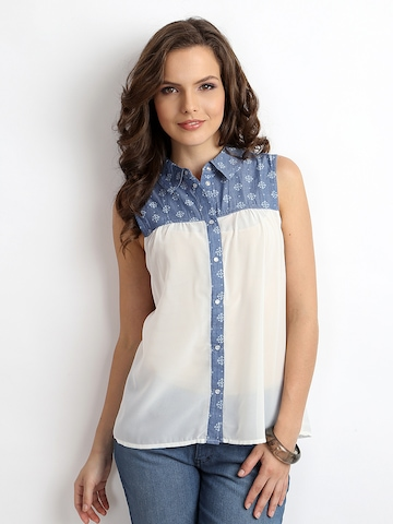 ONLY Women White & Blue Shirt at myntra