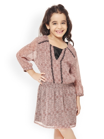 Oxolloxo Girls Brown Printed Fit & Flare Dress
