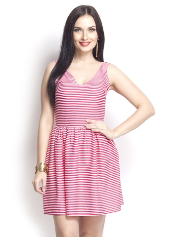 Oxolloxo Pink & White Striped A-Line Dress