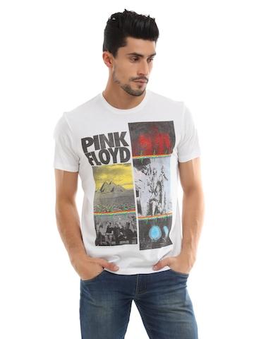 Pink Floyd Men White Printed Tshirt