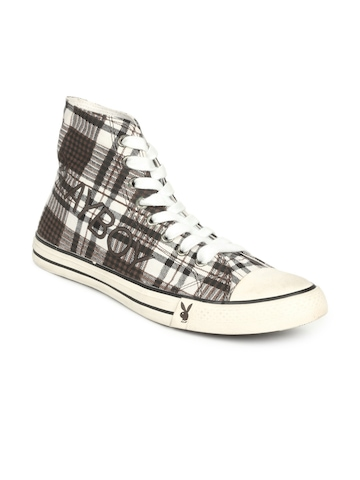 Playboy Men Brown Check Canvas Shoes