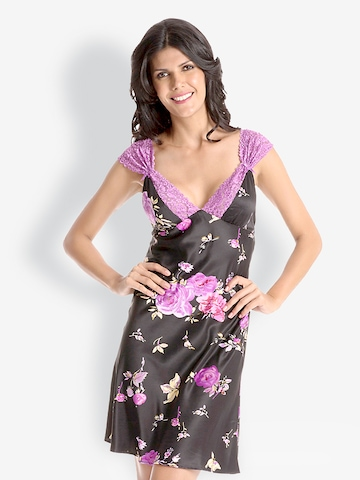 Pretty Secrets Black & Purple Lace-Trim Short Nightdress at myntra