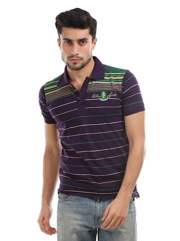 Proline Men Purple Striped Polo T-shirt
