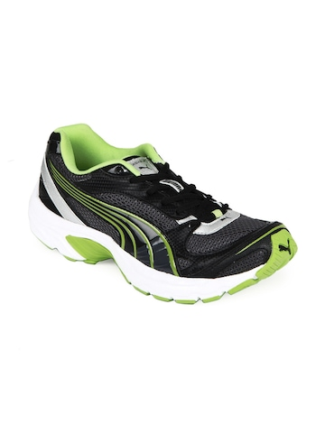 Puma Men Black & Lime Green Exsis II Sports Shoes