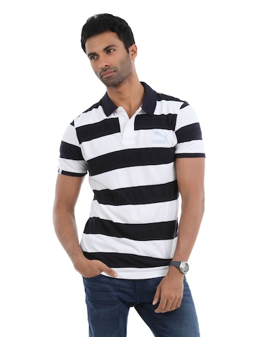 Puma Men Navy Blue and White T-shirt