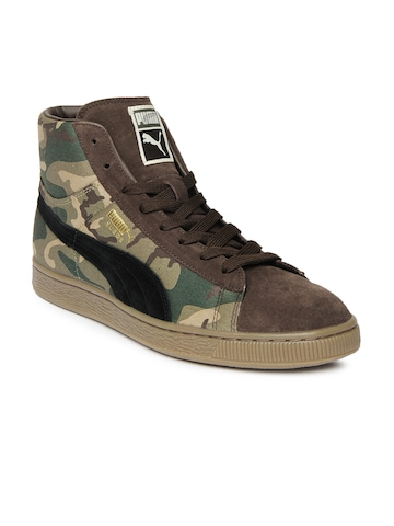 Puma Men Green & Brown Suede Mid Classic Plus Rugged Casual Shoes