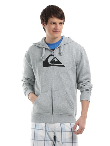 Quick Silver Men Grey Melange Zip-up Sweatshirt